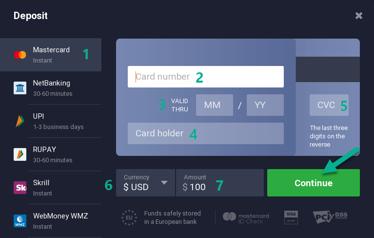 Bank card payment on IqBroker