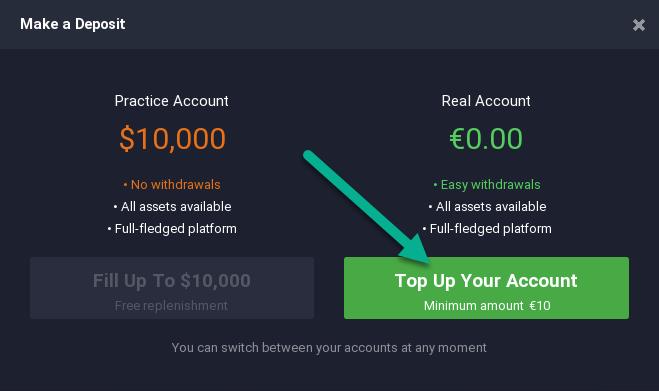 Top up IqBroker (iqoption) account