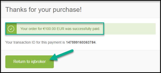 Success deposit on IqBroker